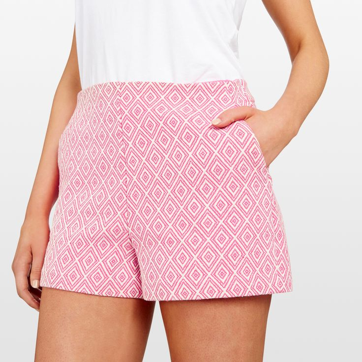 Short shorts in the cutest Aztec textured print. Fitted waistline and in seam pockets make these shorts the perfect daytime piece to add to your summer wardrobe. Crafted in firm soft cotton. Our model wears size AU 8. She usually wears a standard AU 8/Small, is 178cm tall, and has a 79cm bust, 89cm hips and 61cm waist. 47% POLYESTER, 39% COTTON, 14% VISCOSE, COLD HAND WASH