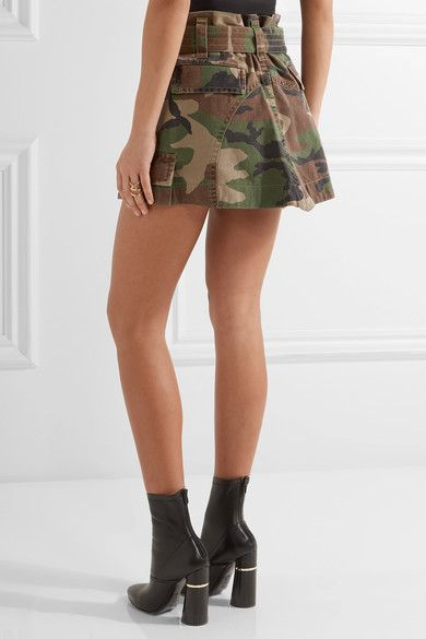 Marc Jacobs - Camouflage-print Cotton-twill Mini Skirt - Army green - US14