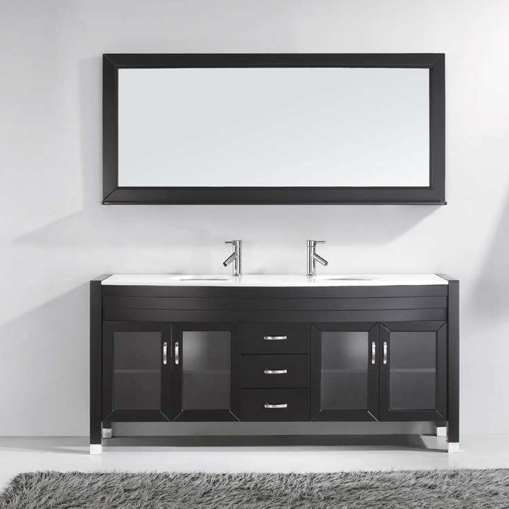 "Ava 71"" Double Bathroom Vanity Set with White Artificial Stone Top and Mirror"