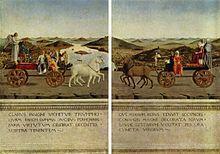 Piero della Francesca: Triomphe de la Chasteté, verso; l'arrivée du duc d'Urbino et de son épouse dans la ville, accompagnés d'anges et de licornes, symboles de chasteté. Les tableaux sont conservés et exposés à la Galerie des Offices de Florence.