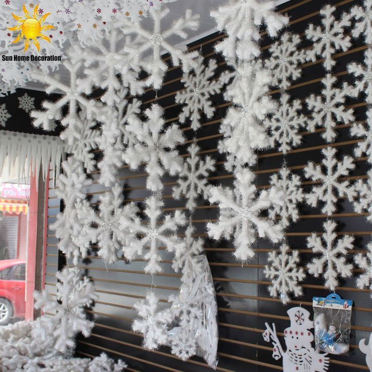 30 Pcs White Snowflakes Christmas Ornaments Home Decoration