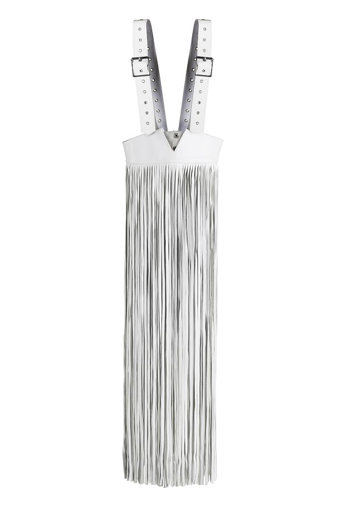 This fringed leather harness is a powerful statement accessory that can transform any pieces underneath into a modern ensemble. Like any other Concepto leather item, the Jill Skirt adds style and attitude to your outfits and its versatility factor gives way to a variety of combinations to complement anyone's fashion tastes. #Conceptoline