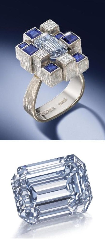 A fancy greyish blue diamond ring, by Andrew Grima, 1971. The rectangular step-cut fancy greyish blue diamond, weighing 2.97 carats, within a surround of square-cut sapphires and diamonds arranged in a stepped formation, to a textured white gold mount, signed Andrew Grima, maker's mark AG.Ltd, London hallmark. #AndrewGrima #retro #ring