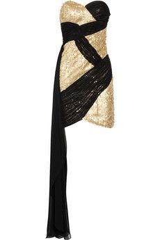 Gorgeous Black & Gold tube top party dress. Can we cut that scarfy thing off