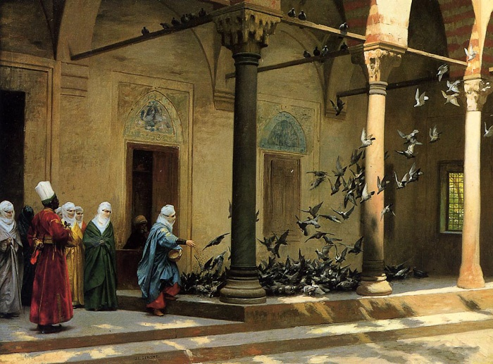 Harem Women Feeding Pigeons in a Courtyard - by Jean-Léon Gérôme