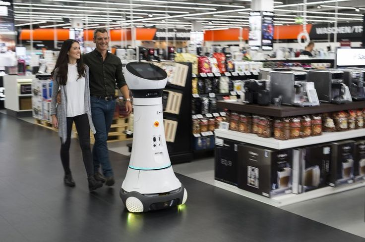 Today in Robot News: Robotic store greeter assists customers for enhanced customer service experience.