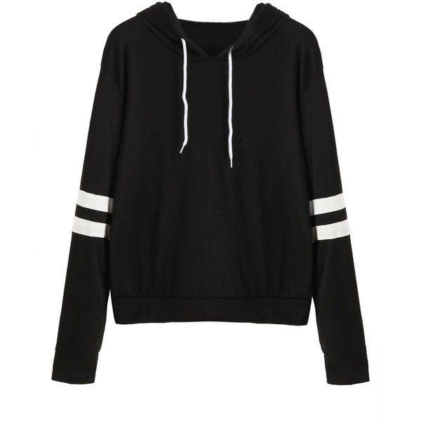 Black Varsity Striped Drawstring Hooded Sweatshirt ($18) ❤ liked on Polyvore featuring tops, hoodies, sweatshirts, shirts, black, pullover hoodie, long sleeve pullover, pullover hoodie sweatshirt, striped sleeve shirt and shirt hoodies