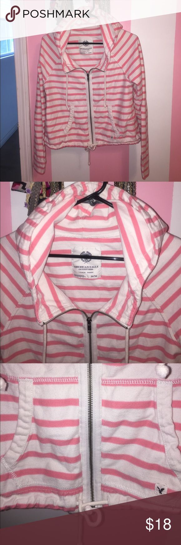AEO loose casual striped zip up This is one of my favorite zip ups I own! It doesn't fit anymore but someone else would for sure enjoy it. It is great quality fabric. Has a drawstring tie at the bottom. The neckline is relaxed and also has ties. 100% cotton. American Eagle Outfitters Tops Sweatshirts & Hoodies