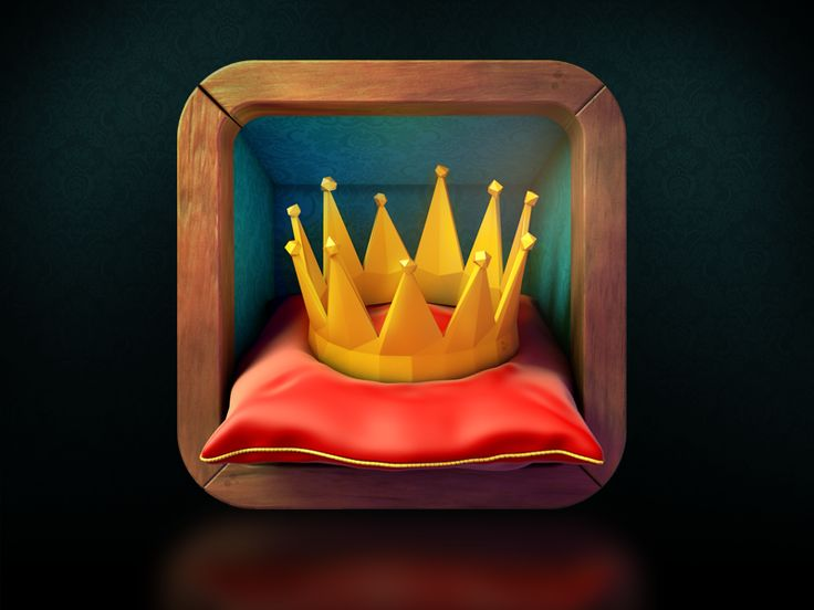 This is an interesting icon. I really like the way the crown is plastic looking and the points are all different sizes which really helps to make this look like it might be a game app and not a serious informative app.