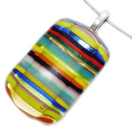 Handgemaakte kleurrijke gestreepte glas hanger! Glazen hanger voor aan een ketting