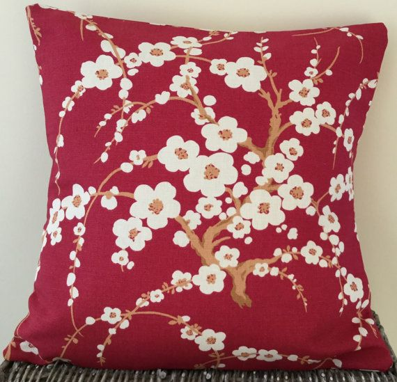 Laura Ashley cushion in Lori Cranberry floral red and cream fabric - 18 x 18 inches / 45 x 45 cm