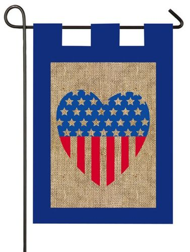 Burlap garden flag with a red and blue stars and stripes heart against the burlap background. Celebrate Independence Day or any other American patriotic occasion with this rustic yet fashionable desig