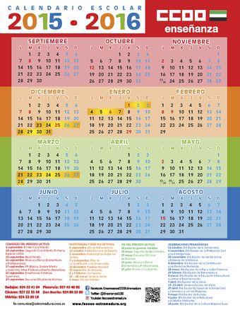 Calendario Escolar de CCOO: curso 2015/16 de Extremadura