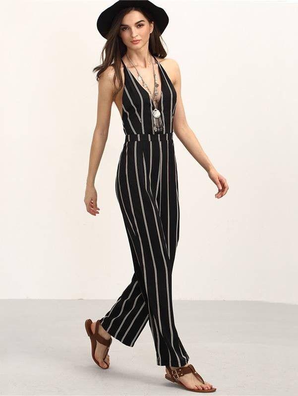 Macacão Feminino Listrado Longo - Compre Online | DMS Boutique