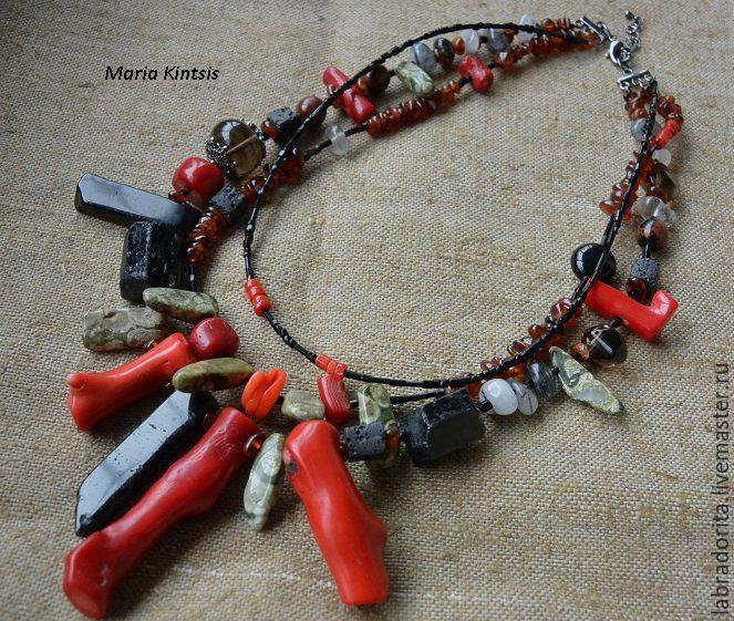 """Купить ожерелье- оберег """"Острый перец"""" - ярко-красный, алые кораллы, красные кораллы"""