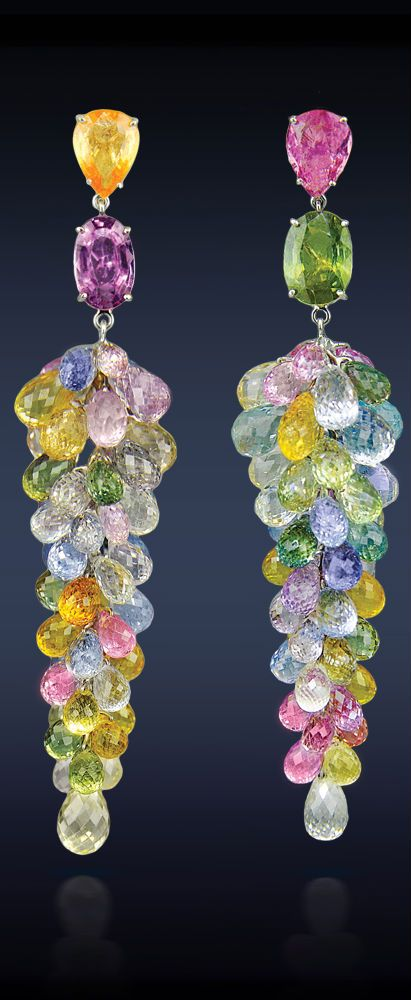 Sapphire Cluster Drop Earrings by Jacob & Co. | Multi-Color Sapphire Cluster Drop Earrings, Featuring: 100.00 Total Carat Weight Multi-Color Sapphires Mounted in Platinum. | Haute Tramp