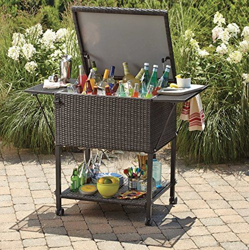 Amazon.com: Wicker Cooler Cart | Outdoor Serving Cart With Wheels For Patio  Bar