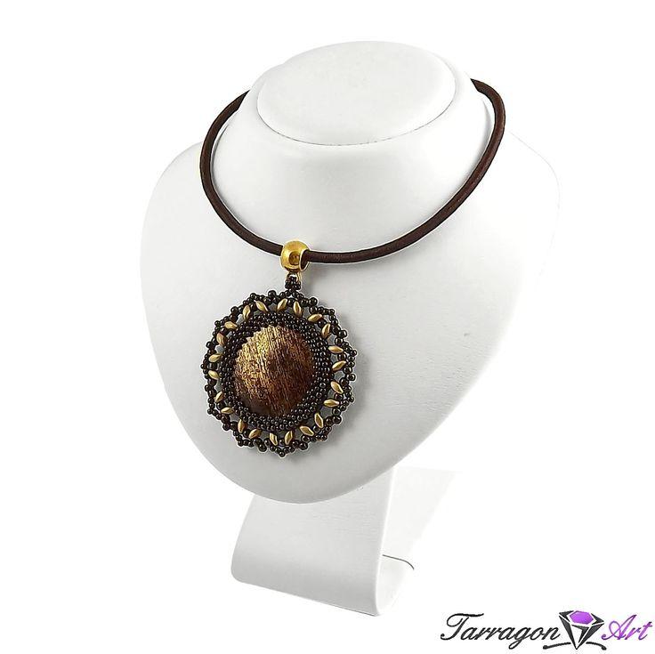 Wisior Beaded - Metallic Iris Brown & Flax - Naszyjniki i wisiory - Tarragon Art - stylowa biżuteria artystyczna