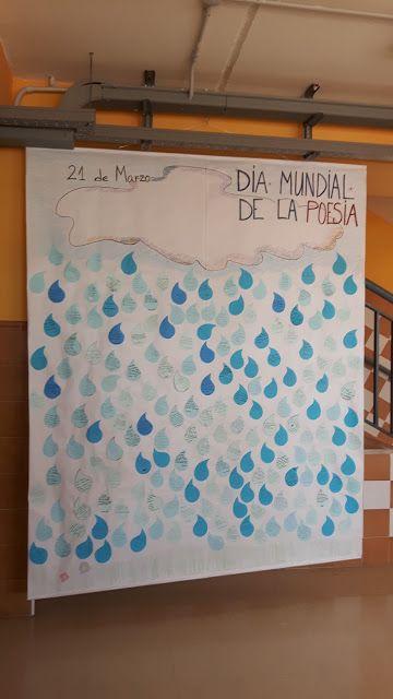 LLUVIA DE POEMAS ya terminada. Biblioteca IES Profesor Tomás Hormigo. Library