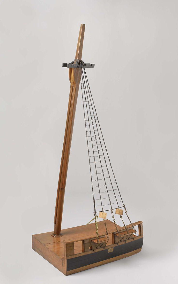 Booth | Model van een grote mast met spanwantschroeven en wantheugel, Booth, Cornelis Soetermeer, Painchaut, c. 1825 - c. 1830 | Model van een gekuipte grote mast met langszalings en hoofdtouwen, op een grondplank die een bakboord deel van een dek voorstelt. In de wand drie geschutspoorten, de rust wordt onderbroken door de middelste poort. Vier van de vijf hoofdtouwen hebben spanwantschroeven, die slechts in detail met elkaar verschillen. Schaal 1:10 (volgens Obreen).