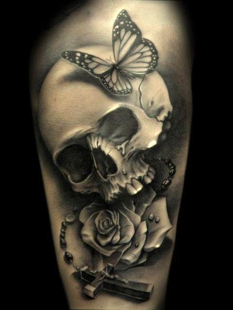 3D Skull Tattoo for Women