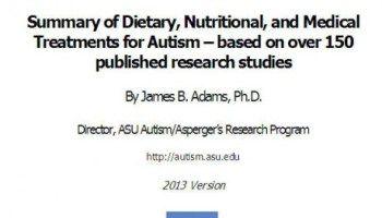 Краткое изложение диетического и медицинского лечения аутизма (США, университет штата Аризона- 2013). Анонс статьи «Диеты, которые влияют на аутизм: то, что нам доступно и дает шанс на успех»