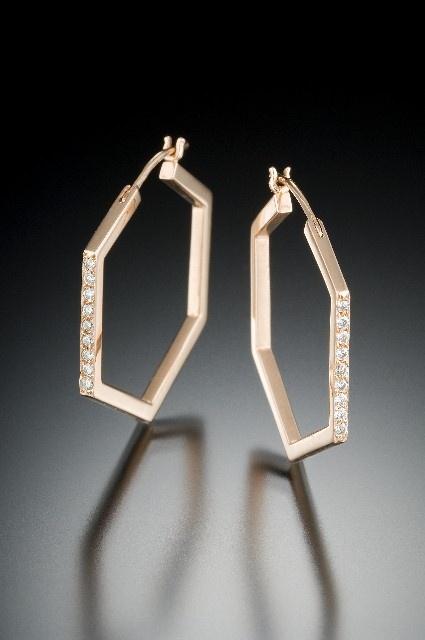 #hexagon #diamond #hoop #earrings