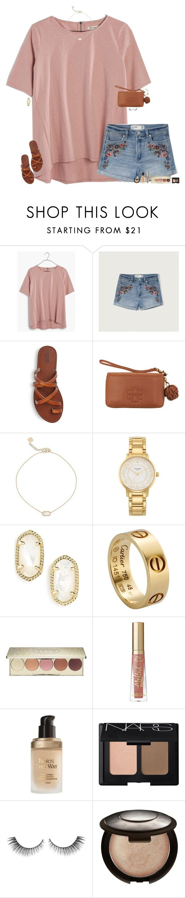 """""""I wish I could just throw myself at you and it would be okay."""" by maggie-prep ❤ liked on Polyvore featuring Madewell, Abercrombie & Fitch, Tory Burch, Kendra Scott, Kate Spade, Cartier, Becca, Too Faced Cosmetics and NARS Cosmetics"""