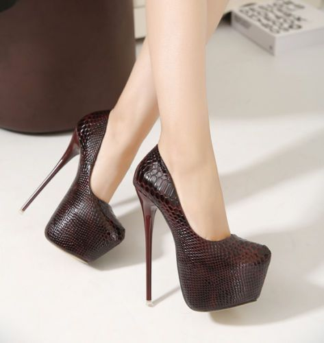 4d06e944e1d Women Ladies Snakeskin 6Inch High Platform Stiletto High Heels Pumps ...