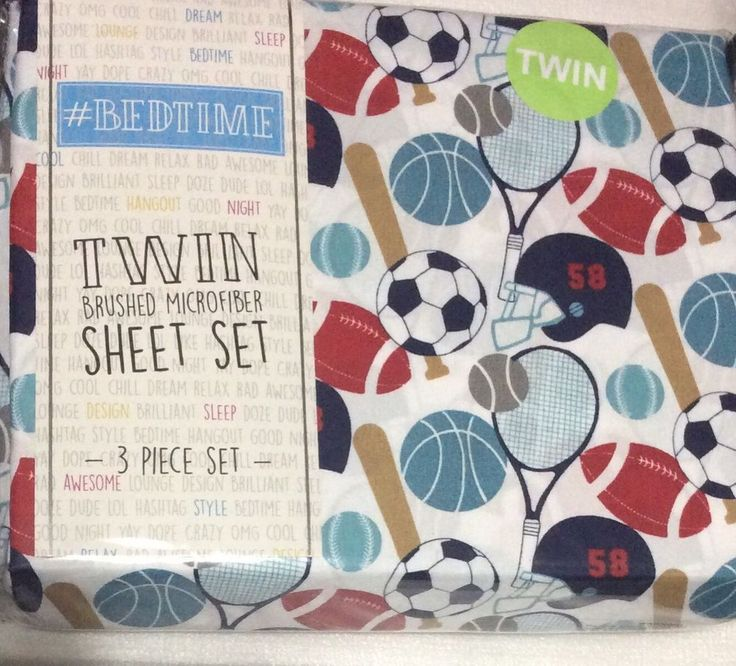 #Bedtime Sports Twin Sheet Set Baseball Basketball Soccer Tennis Baseball White   | eBay