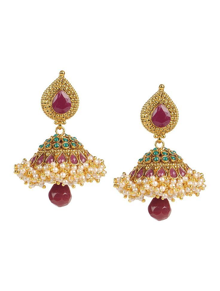 Buy Golden Ivory Brown Classic Drop Jhumki Earrings Metal Alloy Pearl Semi Precious Stone Jewelry Fashion Monarch and Online at Jaypore.com