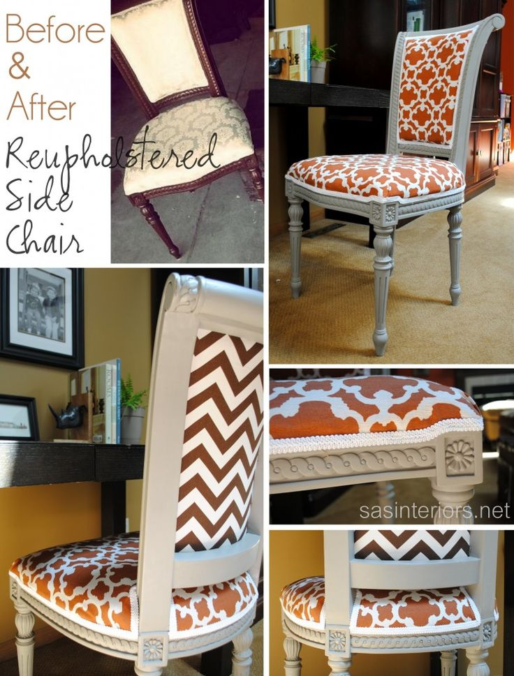 DIY: Reupholstered Side Chair  * old kitchen table chair. change to be new desk chair