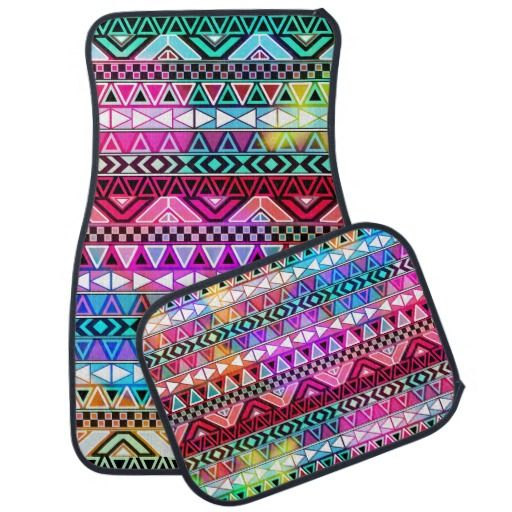Pink Purple Bright Andes Abstract Aztec Pattern Car Mat