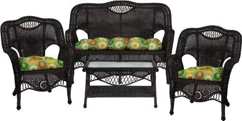 3411 Aluminum Frame Black Wicker 4 Piece Set with Berringer Spring Cushions by Flash Furniture. $898.99. Extremely durable corrosion resistant aluminum frame Handwoven vinyl all-weather wicker Can be used indoor/outdoor, even on the coast Includes matching Loveseat, 2 Chairs, and Coffee Table Also includes matching seat-cushion set as shown Made of eco-friendly materials and CA 117 compliant foam DO NOT USE BLEACH ON THIS PRODUCT Loveseat Dimensions: 52.5''W x 28''D x 38''H Chai...