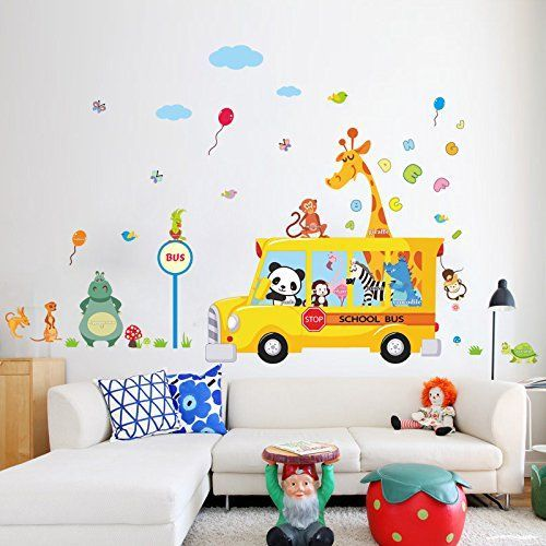 MLM Fun Animals Nursery Monkey Car Wall Sticker Home Decor Decal Kid Room Giraffe Zebra Balloon Butterfly Art Vinyl Stickers Mural PVC DIY Bedroom Decoration Removable ** Check this awesome product by going to the link at the image.