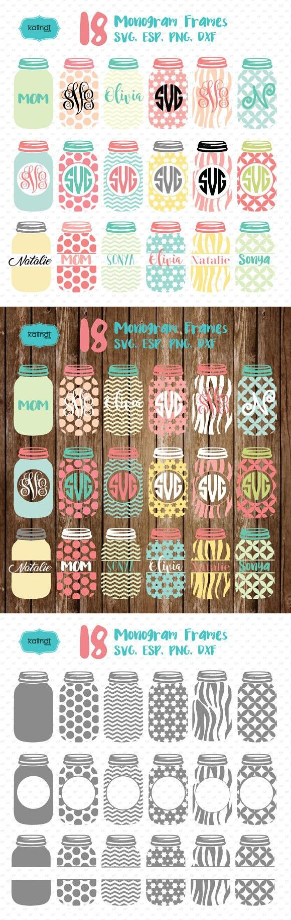 Mason jar monogram frames svg. Wedding Card Templates