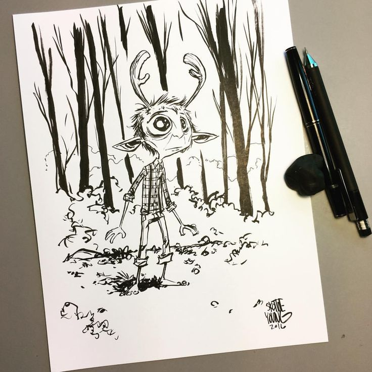 Gus from Sweet Tooth. Original available http://skottieyoungstore.bigcartel.com #dailysketch #inktober #ink #jefflemire