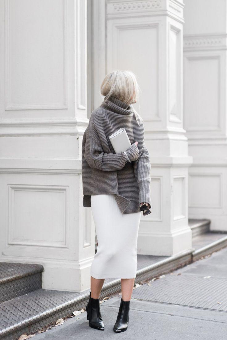 ざっくりニットにタイトスカート ◇キレイめ系タイプのファッション スタイルのコーデ アイデア ◇