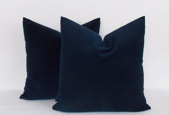 Set of 2 / Velvet Cotton Solid Navy Pillow,Throw Navy pillow,Velvet Pillow cover,Velvet Navy Pillows,12,14,16,18,20,22,24,26,28,30 inch