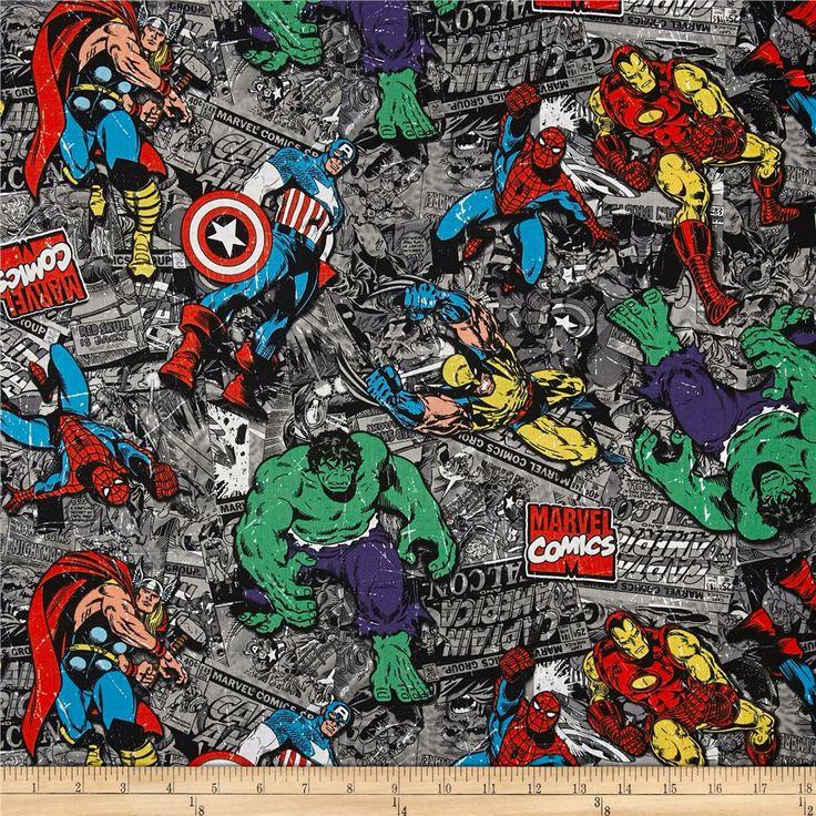 Marvel Comic Strip Group Black Multi Rockin Fabrics