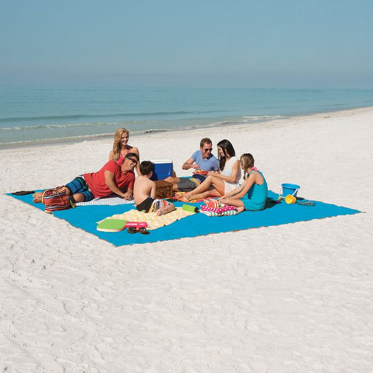 The Only Six-Person Sandless Beach Mat - This is the beach mat sized for six persons that is impossible to cover with sand.