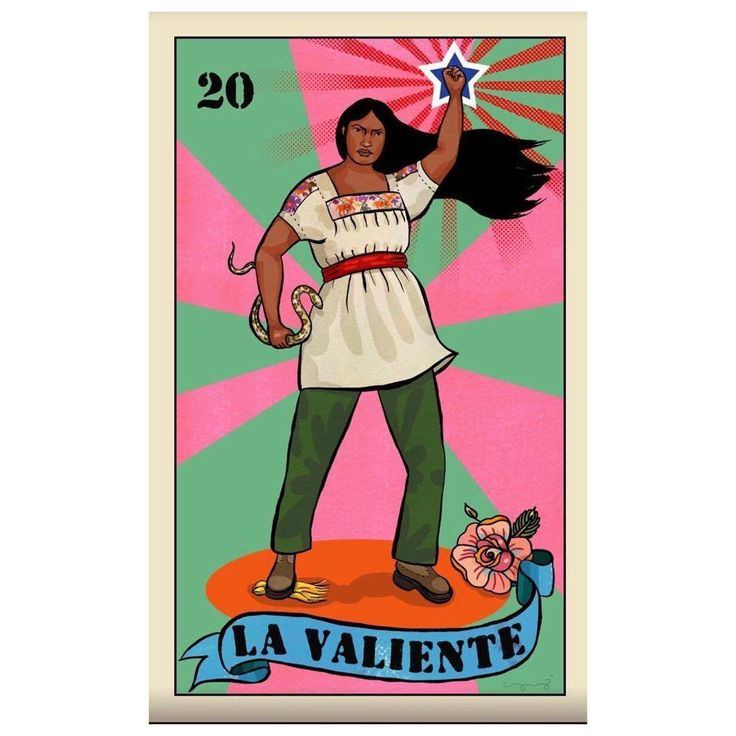 "http://www.vivala.com/identity/loteria-cards-stereotypes/6760/""La Valiente"" is the reimagined form of ""El Valiente"" (""The Brave One""), and with good reason: because women are strong as hell, too./1"