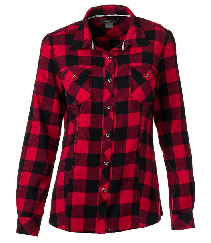 Natural reflections flannel shirt for ladies red for Buy plaid shirts online