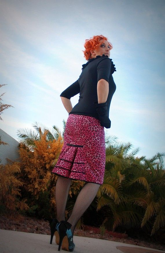 Wiggle Pencil Skirt in Pink Leopard Print by FrigidCouture on Etsy