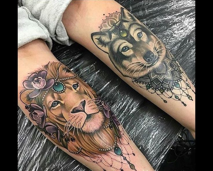 LION & WOLF LEG TATTOOS Lion tattoo, Tattoos, Turtle