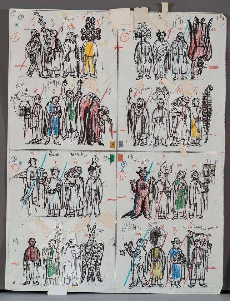 "G. Bruskin, ""Scetch for Alefbet 3"", 36 x 28 cm, mixed media on paper, 1990. #grishabruskin #querinistampalia #exhibition #russianart #contemporaryart"
