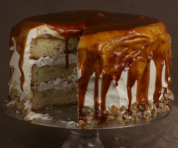 Oh My!!!  Pear Ginger Cake with Whipped Cream and Rum-Caramel Glaze  -  It's a triple-decker stunner that features a soft, tender cake with fresh pears and homemade ginger folded into the batter, and a billowy whipped cream filling and frosting. All is topped with luscious rum-caramel glaze.
