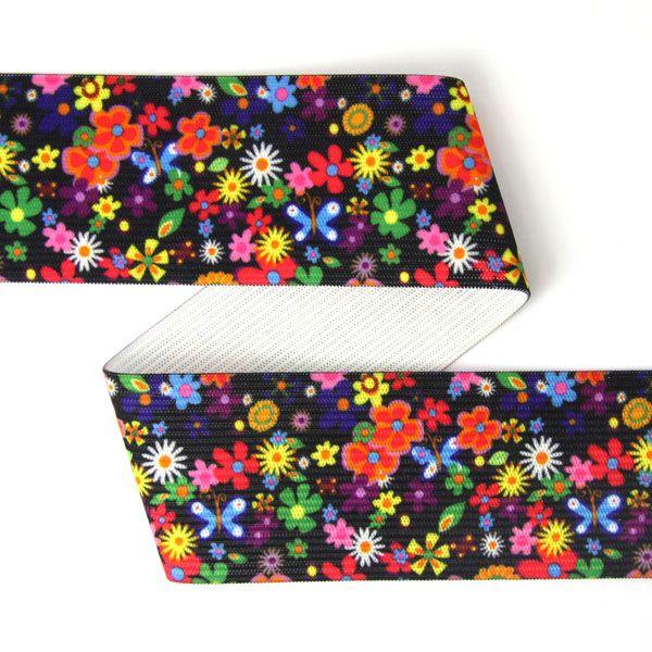 Elastiskt skärpband Flower Power - färgmix - Barnband med blommormotiv - Övriga elastiska band - tyg.se