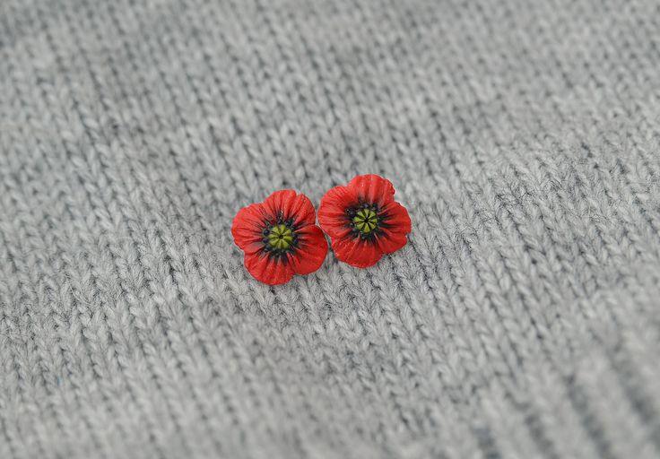 """Серьги """"Красный мак"""" размер: 1,8 см"""