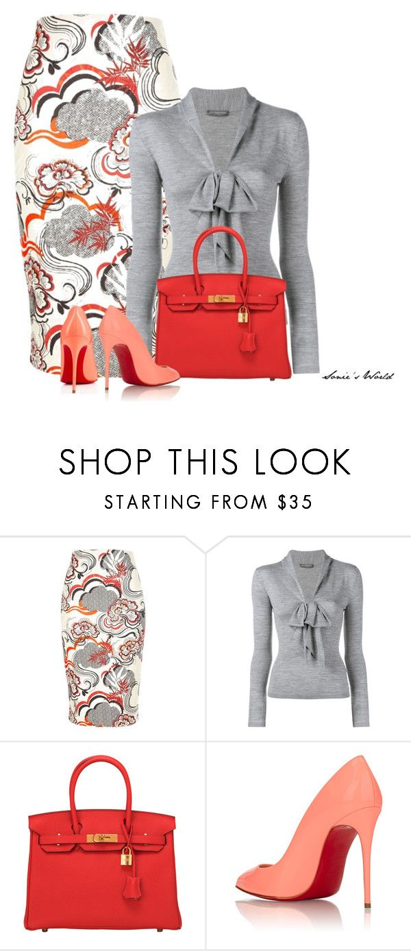"""""""Grey"""" by sonies-world ❤ liked on Polyvore featuring River Island, Giambattista Valli, Hermès and Christian Louboutin"""